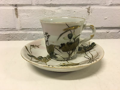 Antique Japanese Signed Porcelain Cup & Saucer w/ Crane & Floral Decoration