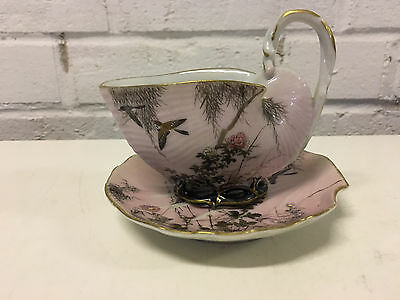 Antique Japanese Signed Porcelain Shell Form Cup & Saucer w/ Bird Decoration