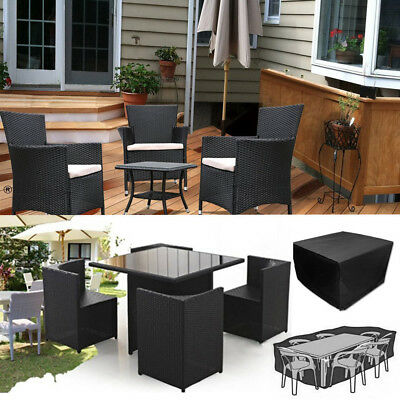 Waterproof Rattan Cube Outdoor Table Garden Patio Furniture Set Cover Protection