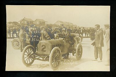 Car Auto Racing real photo postcard RPPC Ormond Daytona Beach FL Flat Cyclone