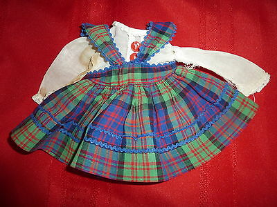"""Orig. 14"""" Toni Doll's Plaid Dress w/ Blouse ONLY No Tag or Doll 1950's to Repair"""
