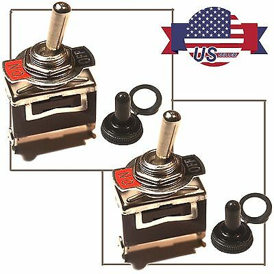 2 X Heavy Duty  20A 125V SPST 2 Terminal ON/OFF Toggle Switch w/ Waterproof Boot