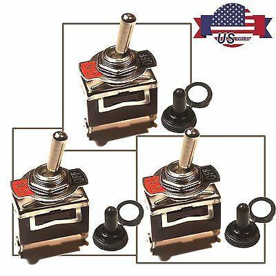 3 X Heavy Duty  20A 125V SPST 2 Terminal ON/OFF Toggle Switch w/ Waterproof Boot