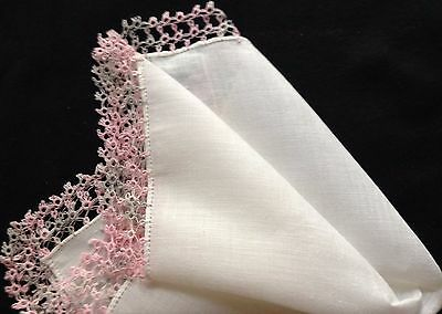 True Vintage Lovely Double Tatting Pink/Gray Lace Decorated Handkerchief
