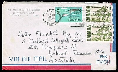 CANADA to TASMANIA • 1968 Airmail Cover from Toronto to Hobart, Tasmania