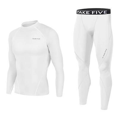 New Mens Compression Base Layer Pants + Top Armour Shirt Skin Gear Set White