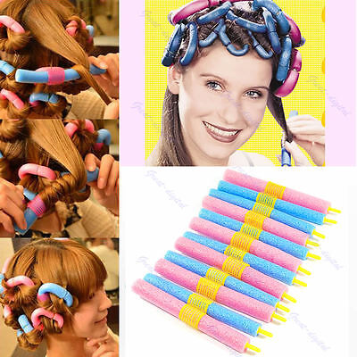 24 Pcs Magic Hair Curler Soft Foam Curlers Formers Spiral Styling Rollers DIY
