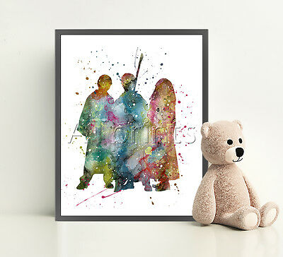 HARRY POTTER Print Poster Watercolour Framed Canvas Wall Art Nursery