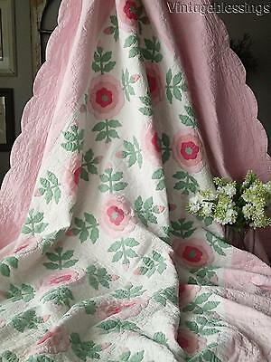 Exquisite! VINTAGE 30s Romantic Cottage ROSE Applique QUILT Large 92x74""