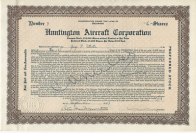 1929 HUNTINGTON AIRCRAFT CORPORATION Stock Certificate DELAWARE Pays cancer bill