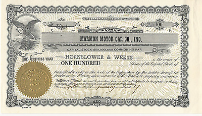 1917 MARMON MOTOR CAR CO INC Stock Certificate INDIANA AUTO Pays my cancer bills