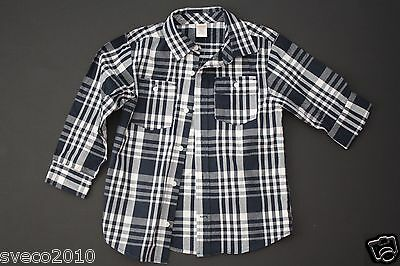 Nwt Gymboree Baby Boy's Cozy Navy Blue & White Plaid Button Down Shirt S 5-6