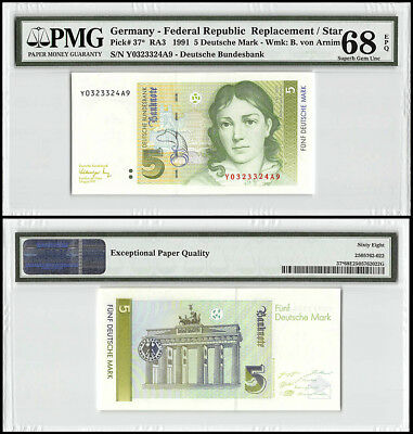 Germany 5 Deutsche Mark, 1991, P-37,UNC,B. von Arnim,Replacement/Star,PMG 68 EPQ