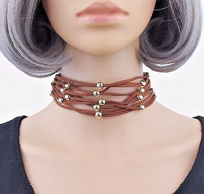 Hot! Suede Multi Layers Choker Gold Plated Beads Brown Black Choker Necklace