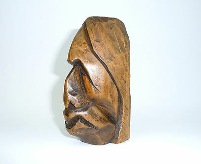 Carved Extravagant Wooden Head um 1900 Head Signed B-11410