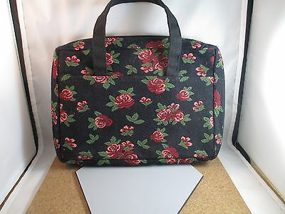 Rose Bible cover Case Pen Holder Floral Fabric 2 Handles used
