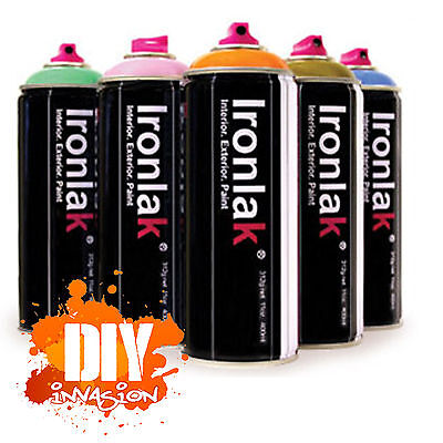 IRONLAK 12 Pack Spray Paint Graffiti Street Art Mural Aerosol Can Many Colours