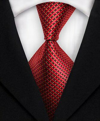 Men's Red Striped Ties 100% Silk JACQUARD WOVEN Wedding Party Tie Necktie A158