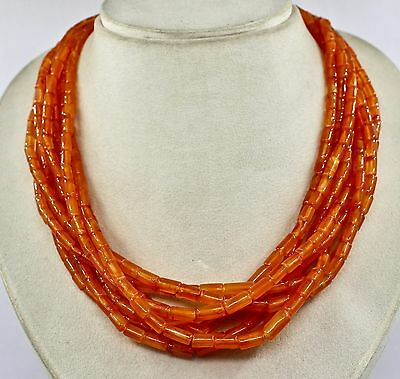 Fashion!! 8 Line Natural Orange Carnelian Fancy Tube Beads Necklace With Silver
