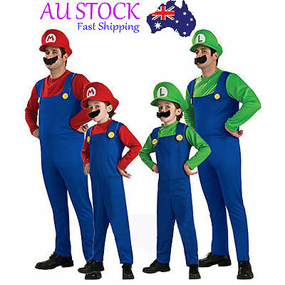 Super Mario Luigi Brothers Famaily Costumes Kids Adults Halloween Fancy Dress #2