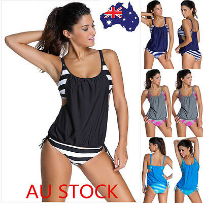 Women Tankini Bikini Set Push-Up Bra Padded Swimsuit Bathing Suit Beach Swimwear