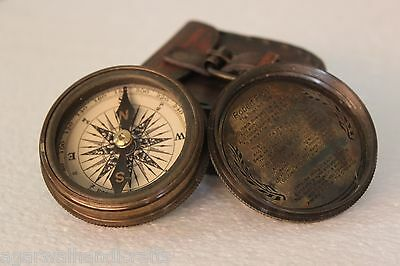 Antique Vintage Collectible Poem Pocket Compass With Robert Frost Poem Inside