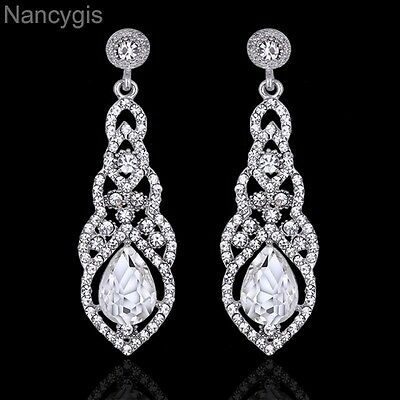 Silver Crystal Dangling Teardrop Party Gift Bridal Wedding Earrings