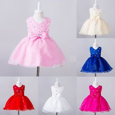 Toddler Baby Princess Party Tutu Lace Bow Skirt Kid Girls Wedding Dresses 0-2Y