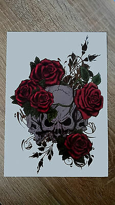 21x15cm Sheet-High-Quality-Fake-Tatto-Skull-Rose-Waterproof-Temporary