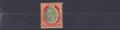 Malta  1904 - 14   S G 63    5/-   Green & Red Yellow    Mh  Cat £65