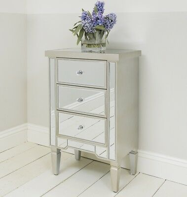 Venetian Mirrored Three Drawer Bedside Table With Silver Gold Edge Bedroom