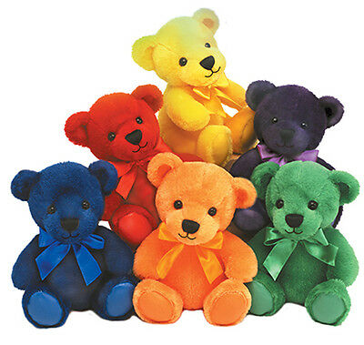 First & Main Rainbow Bears Plush 1593 (6 PC. Assorted Colors)