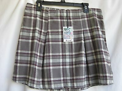 "Junior Flannel Skirt Size-L [W.30-34""]Gray Plaid  85% Off Msrp $36.00 New"