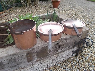Gorgeous Selection 3 Antique French Handmade Copper Pans Ref T10/90