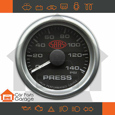 "SAAS 52mm 2"" Oil Pressure Gauge 0-140 PSI Range Black Dial Face + Fitting Kit"