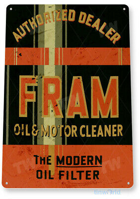 """TIN SIGN """"Fram Oil"""" Filter Cleaner Gas Metal Decor Greasy Auto Shop Garage A067"""