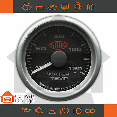 "SAAS 52mm 2"" Water Temp Gauge 40-120 Degree Range Black Dial Face + Fitting Kit"