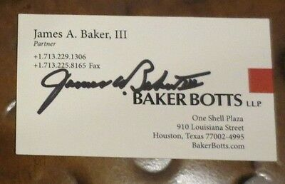 James A Baker signed autographed business card Sec of State Treasury Bush Reagan