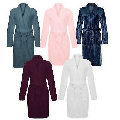 Ladies Luxury Soft Plush Fleece Bathrobe Dressing Gown Warm Comfort Cosy Shower