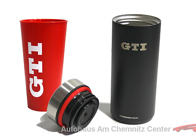 NEU Original VW Becher Thermobecher schwarz + Trinkbecher rot Golf GTI Set