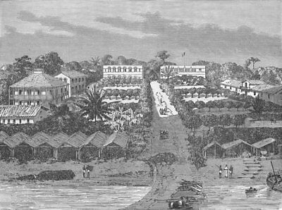 GABON. Bird's-eye village 1880 old antique vintage print picture