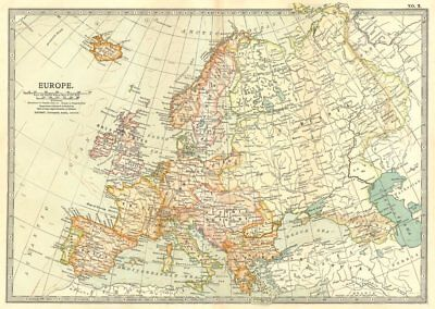 EUROPE. Europe 1903 old antique vintage map plan chart