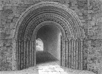WORCESTER. South entry to cloisters of Cathedrals 1807 old antique print