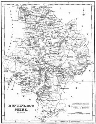 HUNTS. Huntingdonshire. Fullarton 1834 old antique vintage map plan chart