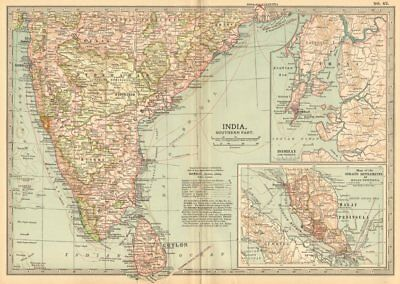 INDIA SOUTH CEYLON. Bombay Malaysia Singapore.Shows key battles/dates 1903 map