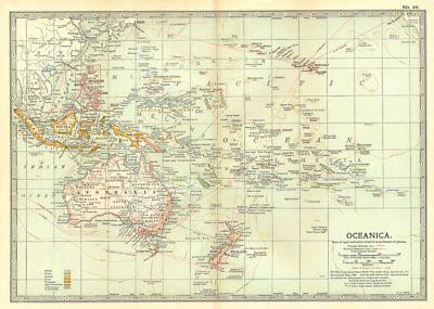 OCEANIA.Pacific. British French German Dutch Portuguese US colonies 1903 map