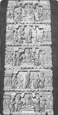 INDIA. Temples. Bas-relief from Indian Temple 1880 old antique print picture