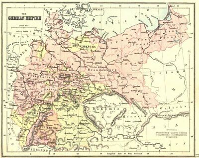 GERMANY. German Empire. PHILIPS Hughes  1892 old antique map plan chart