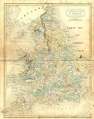 ENGLAND WALES. Butler Hall 1850 old antique vintage map plan chart