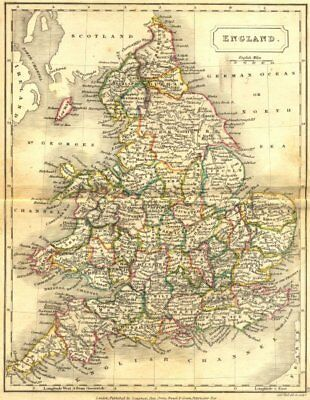 ENGLAND. England Wales. Sidney Hall 1850 old antique vintage map plan chart